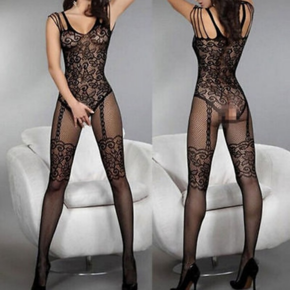 01b43588453 Sexy Black Lace Fishnet Body Stocking Bodysuit O S